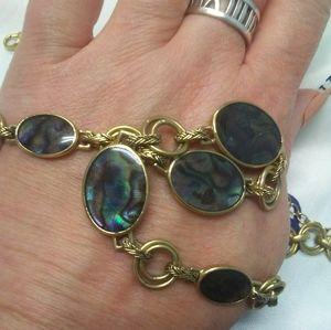 VTG Monet Abalone Brass Necklace